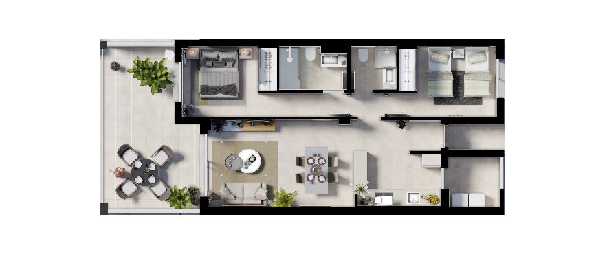 Plan 2-bed first floor apartment