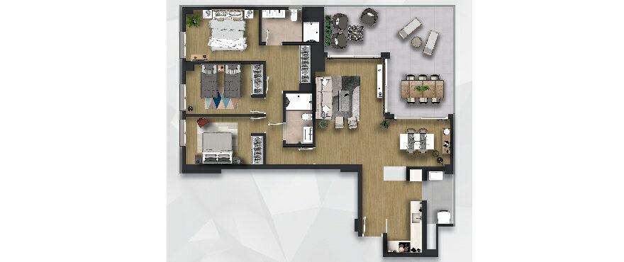 Plan new 3 bed apartments - Posidonia