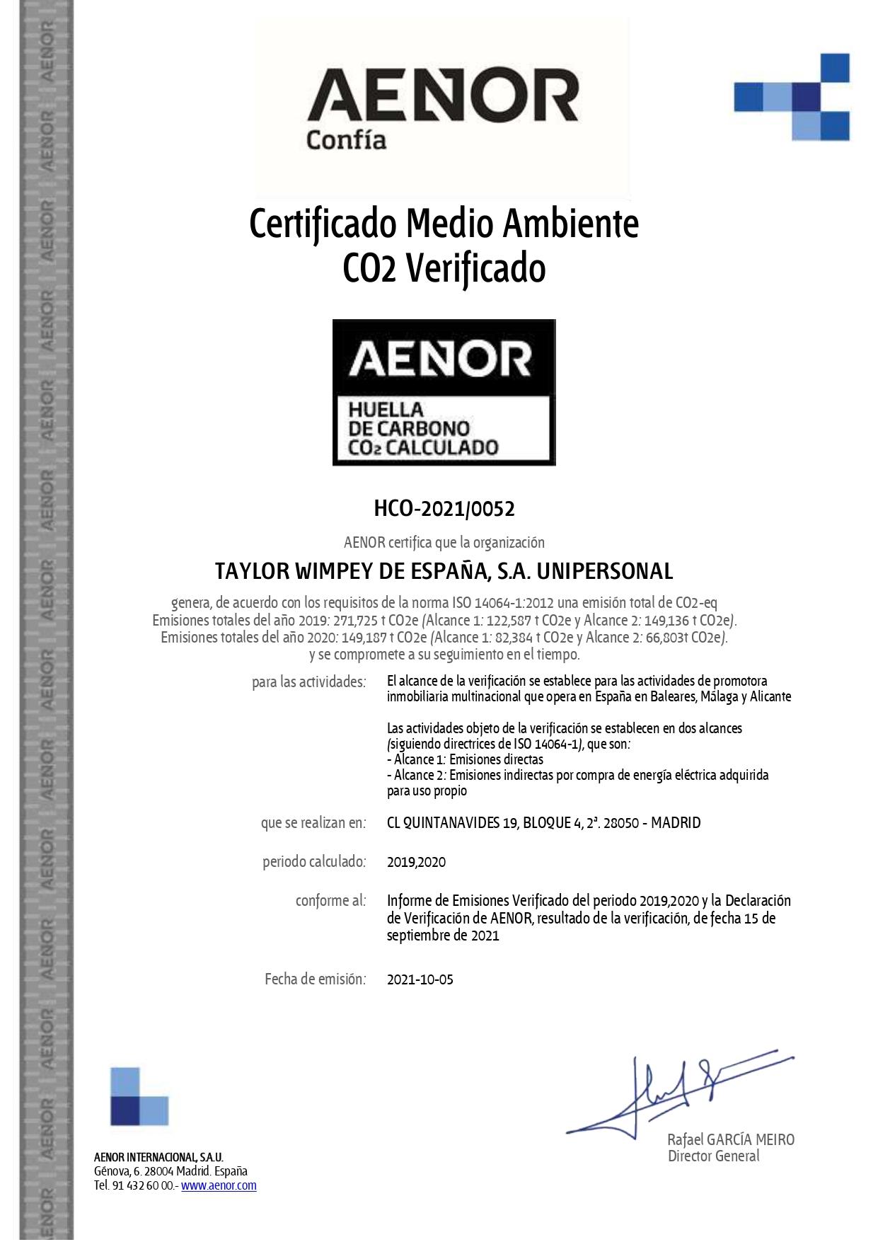 Certificado Medioambiente Aenor - Taylor Wimpey España